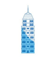 Building hotel architecture facade blue line vector