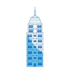 Building hotel architecture facade blue line vector