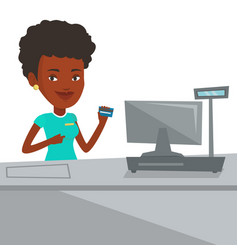cashier holding credit card at the checkout vector image vector image