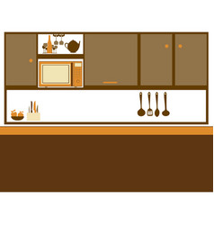 Color silhouette of kitchen with top cabinets vector