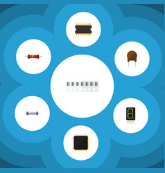 Flat icon electronics set of cpu resistor vector