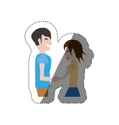 Funny couple hand holding romance shadow vector