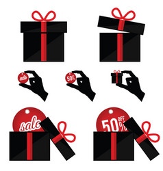 gift box with summer sale in black and red color vector image vector image