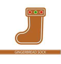 Gingerbread christmas sock vector