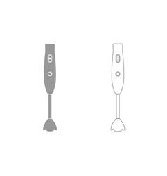 Hand blander machine grey set icon vector