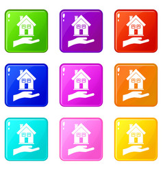 Hand holding house set 9 vector
