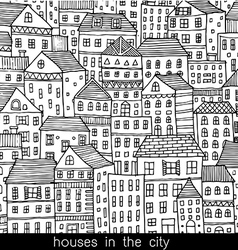 Houses in the city sketch doodle style vector