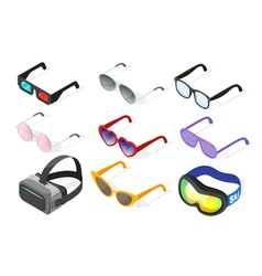 Isometric 3d set of glasses vector image