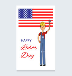 labor day design a man in a working vector image vector image