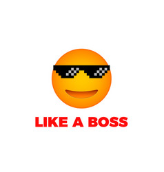 Like a boss emoji smile face vector