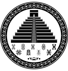 Mayan pyramid and fantasy symbols vector
