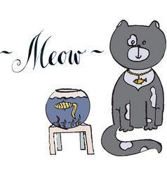 Meow gray cat with gold fish vector