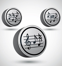 Music sheets with g key and notes icons set vector image