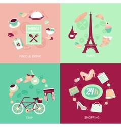 Paris city set vector image vector image