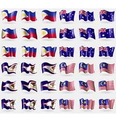 Philippines australia american samoa malaysia set vector