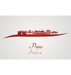 Pune skyline in red vector image vector image
