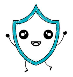 Security shield kawaii character vector