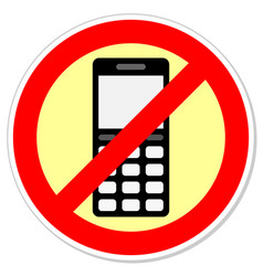 Sign forbidding to use the phone vector