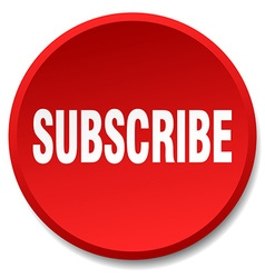 Subscribe red round flat isolated push button vector