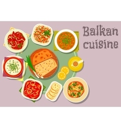Balkan cuisine dishes for dinner menu design vector