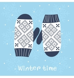 Christmas card with knitted mittens vector