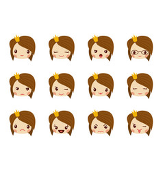 cute girl face with red bow showing the different vector image