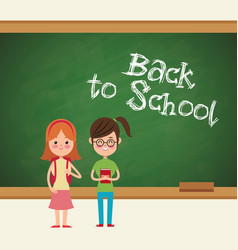 Back to school girls student ready vector