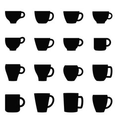 Set of cups and mugs vector