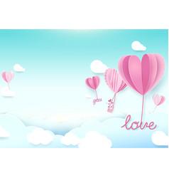 Paper art style heart shape balloons flying in sky vector