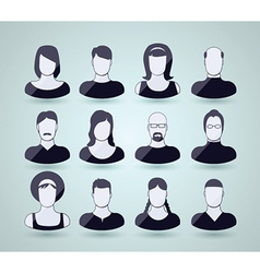 Set of faces and shoulders vector