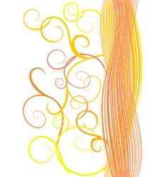 Orange waves and curves vector
