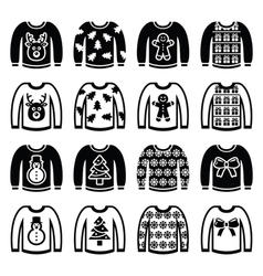 Ugly christmas sweater on jumper icons set vector