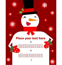 Snowman - banner or background for text vector