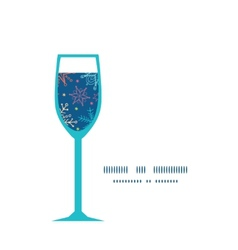 Colorful doodle snowflakes wine glass silhouette vector