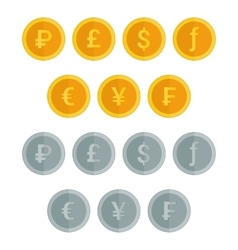 Set of coin icons in flat style vector