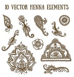 Set with abstract floral elements in indian style vector