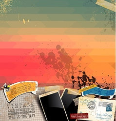 Vintage scrapbook composition with old style vector image