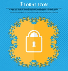 Lock floral flat design on a blue abstract vector