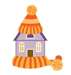 House in hat and scarf vector