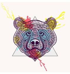 Zentangle stylized violet bear face in triangle vector