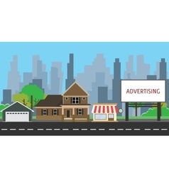 Billboard advertising space on side way middle vector