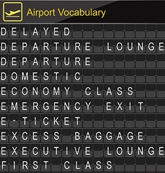 Airport vocabulary on airport boarding vector
