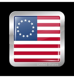 American betsy ross flag metal icon square shape vector