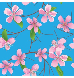 Blue pattern with peach flowers vector