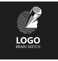 Brain sketch pencil icon logo vector