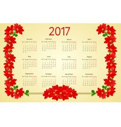 Calendar 2017 with red Dahlia vintage vector image vector image
