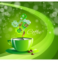 coffee drink green cup beverage background vector image