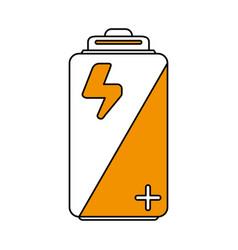 Color silhouette image cartoon alkaline battery vector