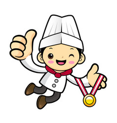 Executive chef character receive a gold medal vector