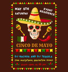 Flyer of mexican cinco de mayo fiesta party vector